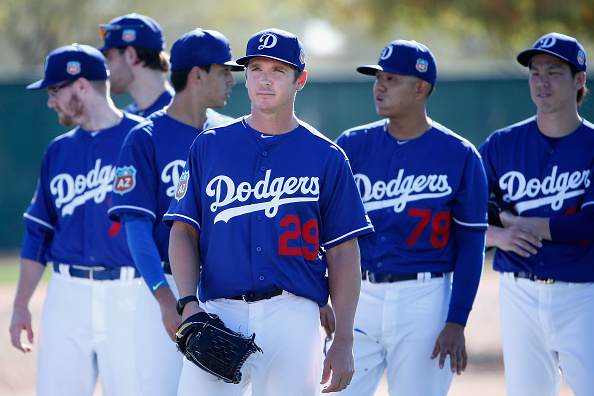 GLENDALE, AZ - FEBRUARY 20: Starting pitcher Scott Kazmir #29 of the Los Angeles Dodgers participates in a spring training workout at Camelback Ranch on February 20, 2016 in Glendale, Arizona. (Photo by Christian Petersen/Getty Images)