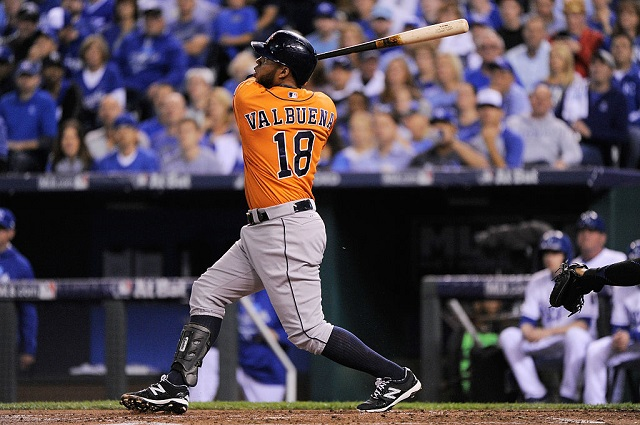 KANSAS CITY, MO - OCTOBER 14: Luis Valbuena #18 of the Houston Astros hits a two-run home run in the second inning against the Kansas City Royals during game five of the American League Divison Series at Kauffman Stadium on October 14, 2015 in Kansas City, Missouri. (Photo by Ed Zurga/Getty Images)