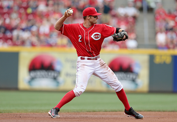 CINCINNATI, OH - MAY 31: Zack Cozart #2 of the Cincinnati Reds throws a pitch during the game against the Washington Nationals at Great American Ball Park on May 31, 2015 in Cincinnati, Ohio.  (Photo by Andy Lyons/Getty Images)