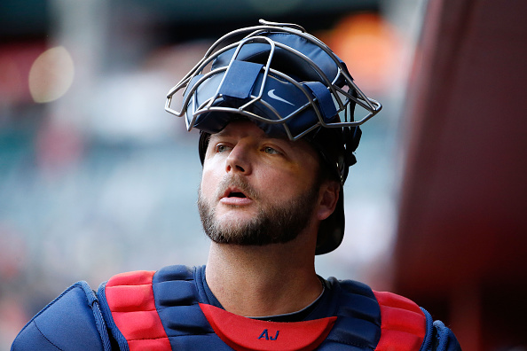 PHOENIX, AZ - JUNE 01:  A.J. Pierzynski #15 of the Atlanta Braves in the dugout during the MLB game against the Arizona Diamondbacks at Chase Field on June 1, 2015 in Phoenix, Arizona.  (Photo by Christian Petersen/Getty Images)