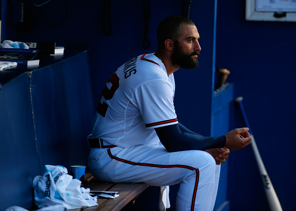 ATLANTA, GA - JULY 20: Nick Markakis #22 of the Atlanta Braves looks on from the dugout during the game against the Los Angeles Dodgers at Turner Field on July 20, 2015 in Atlanta, Georgia. (Photo by Kevin C. Cox/Getty Images)