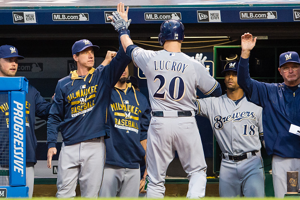 CLEVELAND, OH - AUGUST 25: Manager Craig Counsell #30 celebrates with Jonathan Lucroy #20 of the Milwaukee Brewers after Lucroy hit a solo home run during the first inning against the Cleveland Indians at Progressive Field on August 25, 2015 in Cleveland, Ohio. (Photo by Jason Miller/Getty Images)