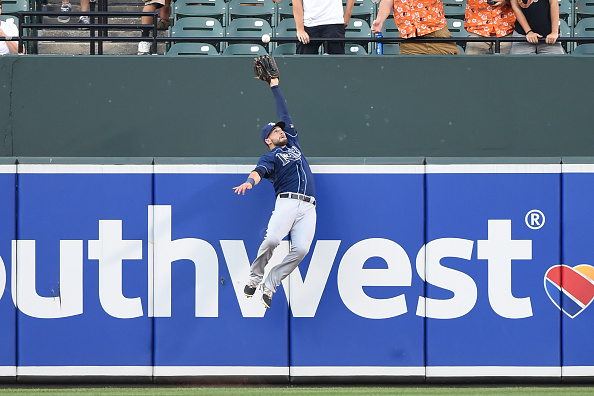 BALTIMORE, MD - AUGUST 31:  Kevin Kiermaier #39 of the Tampa Bay Rays catches a fly ball hit by Manny Machado #13 (not pictured) of the Baltimore Orioles in the first inning during a baseball game at Oriole Park at Camden Yards on August 31, 2015 in Baltimore, Maryland.  (Photo by Mitchell Layton/Getty Images)