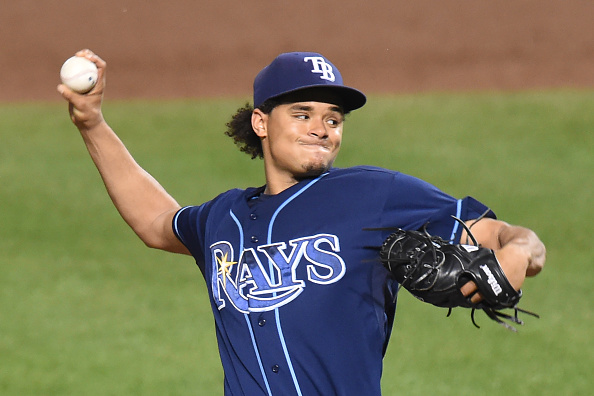 BALTIMORE, MD - AUGUST 31:  Chris Archer #22 of the Tampa Bay Rays pitches in the sixth inning during a baseball game against the Baltimore Orioles at Oriole Park at Camden Yards on August 31, 2015 in Baltimore, Maryland.  The Rays won 6-3.  (Photo by Mitchell Layton/Getty Images)