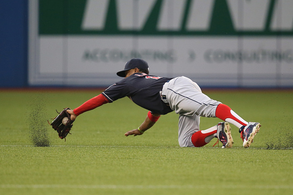 TORONTO, CANADA - AUGUST 31: Francisco Lindor #12 of the Cleveland Indians makes the play and throws out the baserunner for the last out of the second inning during MLB game action against the Toronto Blue Jays on August 31, 2015 at Rogers Centre in Toronto, Ontario, Canada. (Photo by Tom Szczerbowski/Getty Images)