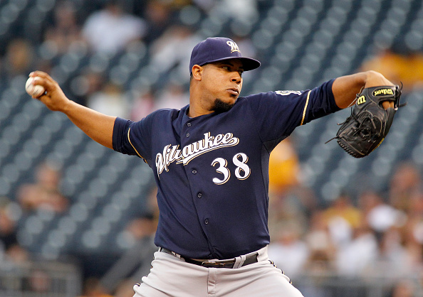 PITTSBURGH, PA - SEPTEM BER 10: Wily Peralta #38 of the Milwaukee Brewers pitches in the first inning during the game against the Pittsburgh Pirates at PNC Park on September 10, 2015 in Pittsburgh, Pennsylvania. (Photo by Justin K. Aller/Getty Images)