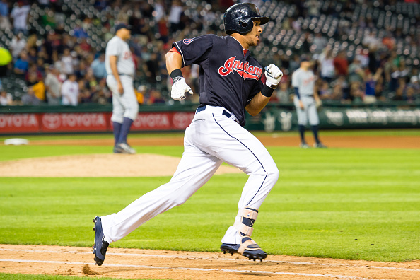 CLEVELAND, OH - SEPTEMBER 10: Michael Brantley #23 of the Cleveland Indians rounds the bases after hitting a solo home run during the seventh inning against the Detroit Tigers at Progressive Field on September 10, 2015 in Cleveland, Ohio. (Photo by Jason Miller/Getty Images)  *** Local Caption *** Michael Brantley