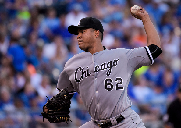 KANSAS CITY, MO - SEPTEMBER 05:  Jose Quintana #62 of the Chicago White Sox throws against the Kansas City Royals during the third inning of a game at Kauffman Stadium on September 5, 2015 in Kansas City, Missouri. The White Sox won the game, 6-1.(Photo by Reed Hoffmann/Getty Images)