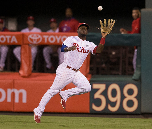 PHILADELPHIA, PA - SEPTEMBER 15: Odubel Herrera #37 of the Philadelphia Phillies makes a running catch in the top of the sixth inning against the Washington Nationals on September 15, 2015 at Citizens Bank Park in Philadelphia, Pennsylvania.  The Nationals defeated the Phillies 4-0. (Photo by Mitchell Leff/Getty Images)