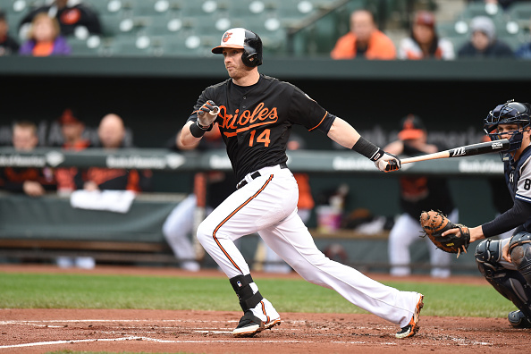 BALTIMORE, MD - OCTOBER 03:  Nolan Reimold #14 of the Baltimore Orioles singles to lead off the first inning during game one of a baseball game against the New York Yankees at Oriole Park at Camden Yards on October 3, 2015 in Baltimore, Maryland.  (Photo by Mitchell Layton/Getty Images)