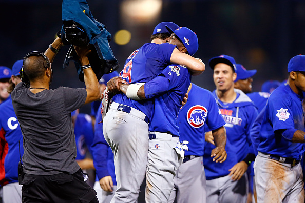PITTSBURGH, PA - OCTOBER 07:  Jake Arrieta #49 of the Chicago Cubs celebrates with Dexter Fowler #24 of the Chicago Cubs after defeating the Pittsburgh Pirates to win the National League Wild Card game at PNC Park on October 7, 2015 in Pittsburgh, Pennsylvania. The Chicago Cubs defeated the Pittsburgh Pirates with a score of 4 to 0.  (Photo by Jared Wickerham/Getty Images)