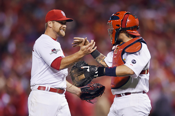 ST LOUIS, MO - OCTOBER 09:  Trevor Rosenthal #44 of the St. Louis Cardinals celebrates with Yadier Molina #4 of the St. Louis Cardinals after defeating the Chicago Cubs in game one of the National League Division Series at Busch Stadium on October 9, 2015 in St Louis, Missouri. The St. Louis Cardinals defeat the Chicago Cubs with a score of 4 to 0.  (Photo by Michael B. Thomas/Getty Images)