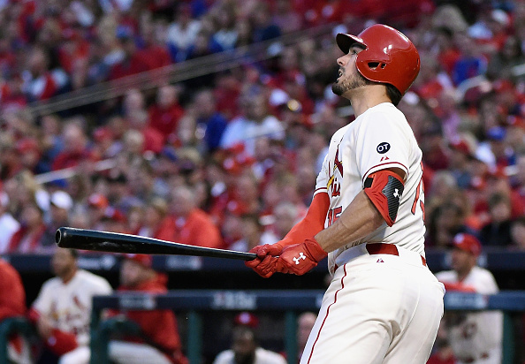 ST LOUIS, MO - OCTOBER 10: Randal Grichuk #15 of the St. Louis Cardinals watches his solo home run in the fifth inning against the Chicago Cubs during game two of the National League Division Series at Busch Stadium on October 10, 2015 in St Louis, Missouri. (Photo by Michael B. Thomas/Getty Images)