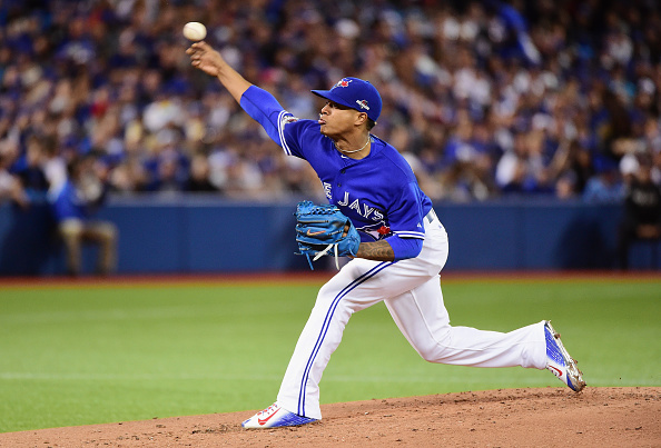 TORONTO, ON - OCTOBER 19: Marcus Stroman #6 of the Toronto Blue Jays throws a pitch in the second inning against the Kansas City Royals during game three of the American League Championship Series at Rogers Centre on October 19, 2015 in Toronto, Canada. (Photo by Harry How/Getty Images)