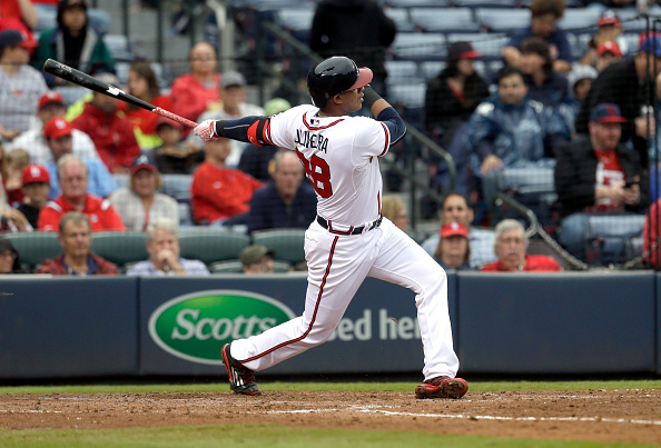 ATLANTA GA - OCTOBER 4: Hector Olivera #28 of the Atlanta Braves swings at a pitch during the sixth inning of the second baseball game in a double header against the St. Louis Cardinals at Turner Field on October 4, 2015, in Atlanta, Georgia. (Photo by Butch Dill/Getty Images)