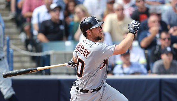TAMPA FL- MARCH 2: Detroit Tigers Bryan Holaday #50 hits a second inning grand slam during the Spring Training Game against the New York Yankees at George Steinbrenner Field in Tampa, Florida. (Photo by Leon Halip/Getty Images)