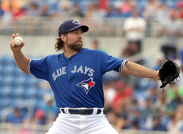 LAKELAND, FL- MARCH 02: R.A. Dickey #43 of the Toronto Blue Jays pitches in the first inning during the game against the Philadelphia Phillies at Florida Auto Exchange Stadium on March 2, 2016 in Dunedin, Florida. (Photo by Justin K. Aller/Getty Images)