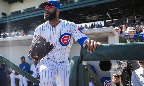 MESA, AZ - MARCH 4: Jason Heyward #22 of the Chicago Cubs bats looks on a spring training game against the Los Angeles Angels at Sloan Park on March 4, 2016 in Mesa, Arizona. (Photo by Rob Tringali/Getty Images)