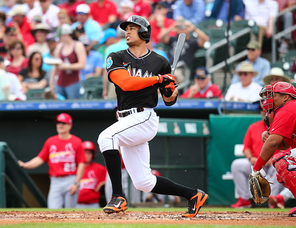 JUPITER, FL - MARCH 5: Giancarlo Stanton #27 of the Miami Marlins at bat during the first inning of the spring training game against the St. Louis Cardinals on March 5, 2016 in Jupiter, Florida. (Photo by Rob Foldy/Getty Images)