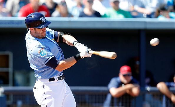 PORT CHARLOTTE, FL - MARCH 6: Evan Longoria #3 of the Tampa Bay Rays hits a double during the third inning of an MLB spring training game against the Minnesota Twins on March 6, 2016 at Charlotte Sports Park in Port Charlotte, Florida.  (Photo by Brian Blanco/Getty Images) *** Local Caption *** Evan Longoria