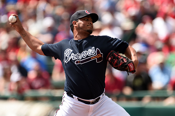 LAKE BUENA VISTA, FL - MARCH 16:  Jhoulys Chacin #47 of the Atlanta Braves throws a pitch during the first inning of a spring training game against the St. Louis Cardinals at Champion Stadium on March 16, 2016 in Lake Buena Vista, Florida.  (Photo by Stacy Revere/Getty Images)