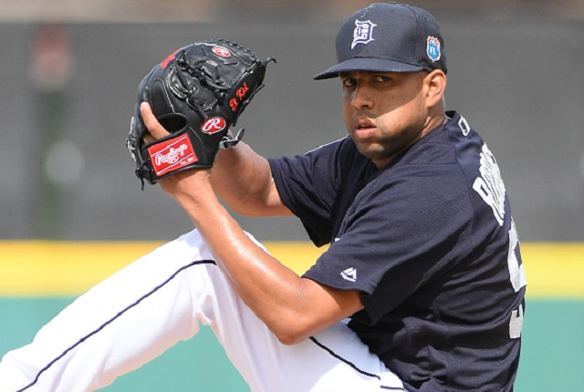 LAKELAND, FL - MARCH 12:  Francisco Rodriguez #57 of the Detroit Tigers pitches during the Spring Training game against the Pittsburgh Pirates at Joker Marchant Stadium on March 12, 2016 in Lakeland, Florida. The Tigers defeated the Pirates 3-0.  (Photo by Mark Cunningham/MLB Photos via Getty Images)