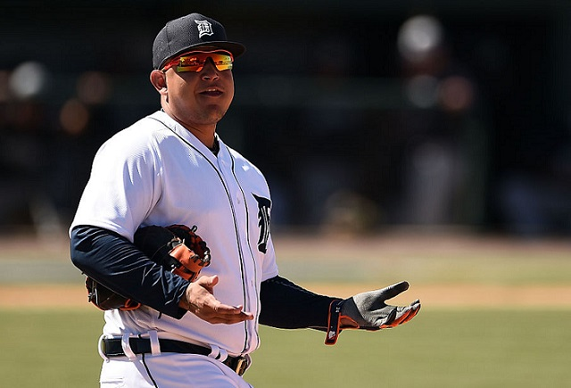 LAKELAND, FL - MARCH 04: Miguel Cabrera #24 of the Detroit Tigers speaks with fans between innings during a spring training game against the New York Yankees at Joker Marchant Stadium on March 4, 2016 in Lakeland, Florida. (Photo by Stacy Revere/Getty Images)