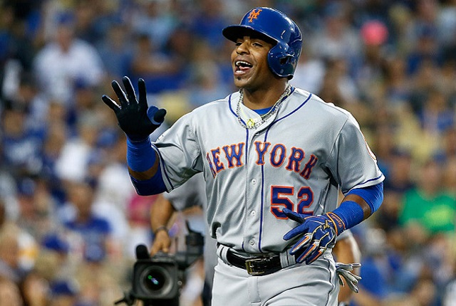 LOS ANGELES, CA - OCTOBER 10: Yoenis Cespedes #52 of the New York Mets celebrates after hitting a solo home run in the second inning against the Los Angeles Dodgers in game two of the National League Division Series at Dodger Stadium on October 10, 2015 in Los Angeles, California. (Photo by Sean M. Haffey/Getty Images)
