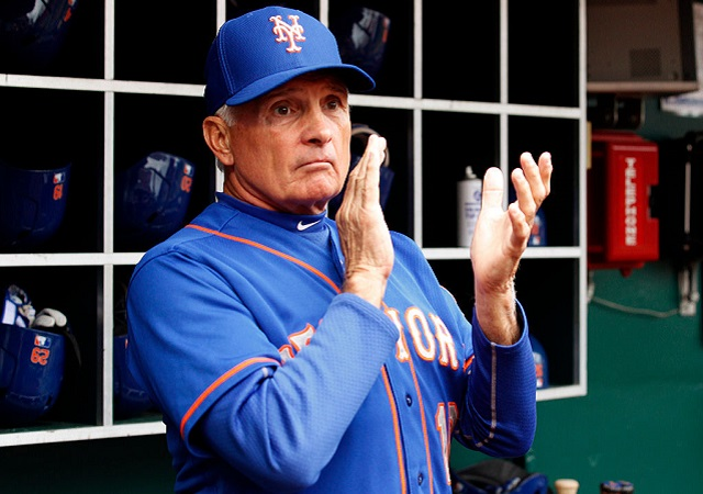 CINCINNATI, OH - SEPTEMBER 27: Terry Collins #10 manager of the New York Mets reacts to his teams play against the Cincinnati Reds at Great American Ball Park on September 26, 2015 in Cincinnati, Ohio.  (Photo by John Sommers II/Getty Images)