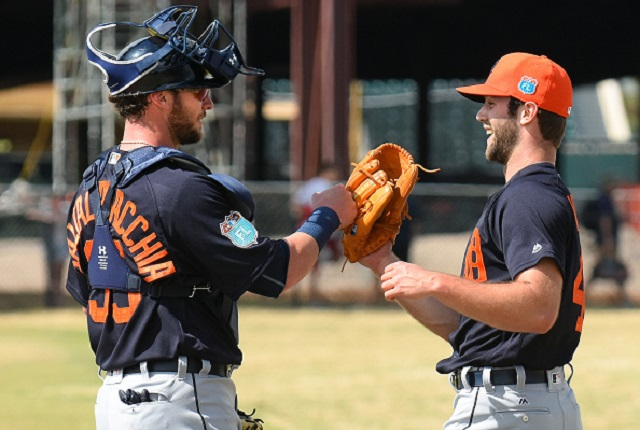 LAKELAND, FL - FEBRUARY 22:  Jarrod Saltalamacchia #39 (L) and Daniel Norris #44 of the Detroit Tigers fist-bump during the Spring Training workout day at the TigerTown Facility on February 22, 2016 in Lakeland, Florida.  (Photo by Mark Cunningham/MLB Photos via Getty Images)