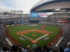 SEATTLE, WA - APRIL 08:  A general view of ceremonies prior to the home opener between the Seattle Mariners and the Oakland Athletics at Safeco Field on April 8, 2016 in Seattle, Washington.  (Photo by Otto Greule Jr/Getty Images)