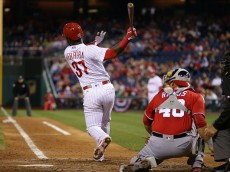 PHILADELPHIA, PA - APRIL 16: Odubel Herrera #37 of the Philadelphia Phillies swings and misses in the eighth inning during a game against the Washington Nationals at Citizens Bank Park on April 16, 2016 in Philadelphia, Pennsylvania. The Nationals won 8-1. (Photo by Hunter Martin/Getty Images)