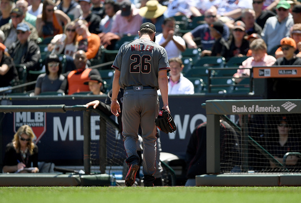 SAN FRANCISCO, CA - APRIL 21:  Shelby Miller #26 of the Arizona Diamondbacks walks back to the dugout after he was taken out of the game against the San Francisco Giants in the bottom of the third inning at AT&T Park on April 21, 2016 in San Francisco, California.  (Photo by Thearon W. Henderson/Getty Images)