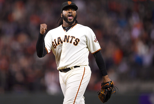 SAN FRANCISCO, CA - APRIL 26:  Johnny Cueto #47 of the San Francisco Giants celebrates after pitching a complete game 1-0 shutout against the San Diego Padres at AT&T Park on April 26, 2016 in San Francisco, California.  (Photo by Thearon W. Henderson/Getty Images)