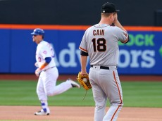 NEW YORK, NEW YORK - APRIL 30: Matt Cain #18 of the San Francisco Giants looks on after Michael Conforto #30 of the New York Mets connects on a solo home run in the fifth inning at Citi Field on April 30, 2016 in the Flushing neighborhood of the Queens borough of New York City.  (Photo by Mike Stobe/Getty Images)