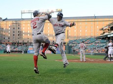 BALTIMORE, MD - JUNE 01:  Mookie Betts #50 of the Boston Red Sox celebrates with Xander Bogaerts #2 after hitting his second home run of the game in the second inning against the Baltimore Orioles at Oriole Park at Camden Yards on June 1, 2016 in Baltimore, Maryland.  (Photo by Greg Fiume/Getty Images)