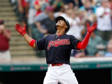 CLEVELAND, OH - JUNE 5:  Francisco Lindor #12 of the Cleveland Indians celebrates after hitting a solo home run during the fifth inning off of Chris Young #32 of the Kansas City Royals at Progressive Field on June 5, 2016 in Cleveland, Ohio. Lindor's home run was the third home run of the inning and marked the end of the game for Young. (Photo by Kirk Irwin/Getty Images)