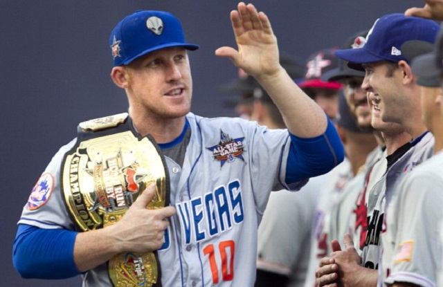Allan Dykstra of the Las Vegas 51's is introduced into the starting lineup for the Pacific Coast League All-Star Team with his home run derby championship belt prior to the start of the 2014 Triple-A All Star Game on Wednesday, July, 16, 2014, at the Durham Bulls Athletic Park in Durham, N.C. (Robert Willett/Raleigh News & Observer/MCT via Getty Images)