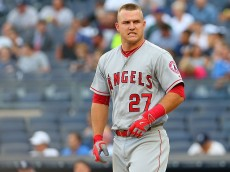 NEW YORK, NY - JUNE 07:  Mike Trout #27 of the Los Angeles Angels reacts after striking out in the first inning against the New York Yankees at Yankee Stadium on June 7, 2016 in the Bronx borough of New York City.  (Photo by Mike Stobe/Getty Images)