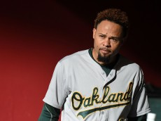 PHOENIX, AZ - AUGUST 29:  Coco Crisp #4 of the Oakland Athletics prepares for a game against the Arizona Diamondbacks at Chase Field on August 29, 2015 in Phoenix, Arizona.  (Photo by Norm Hall/Getty Images)