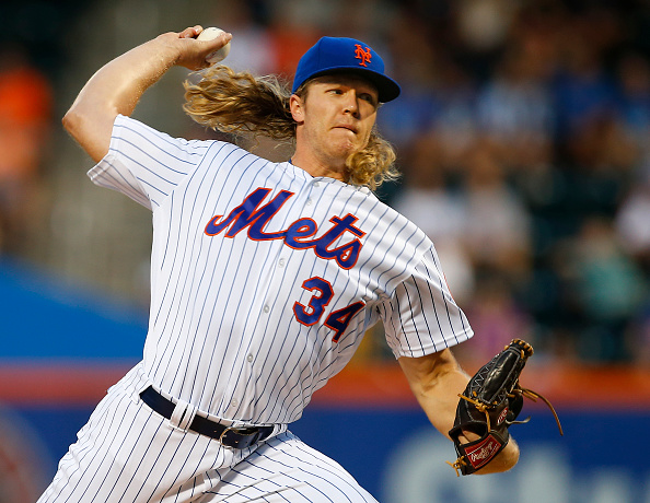 NEW YORK, NY - AUGUST 27: Pitcher Noah Syndergaard #34 of the New York Mets delivers a pitch against the Philadelphia Phillies during the first inning of a game at Citi Field on August 27, 2016 in the Flushing neighborhood of the Queens borough of New York City. (Photo by Rich Schultz/Getty Images)