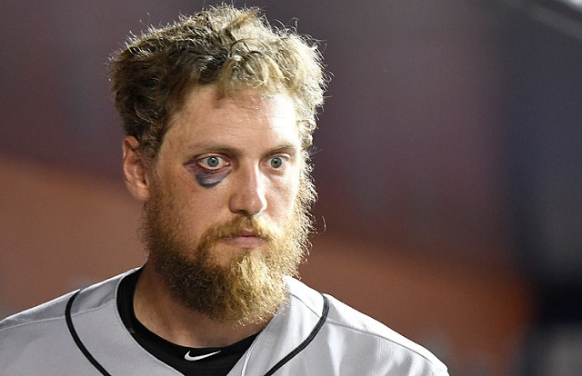 MIAMI, FL - AUGUST 08: Hunter Pence #8 of the San Francisco Giants walks in the dugout after striking out in the 4th inning agains the Miami Marlins at Marlins Park on August 8, 2016 in Miami, Florida. (Photo by Eric Espada/Getty Images) *** Local Caption *** Hunter Pence