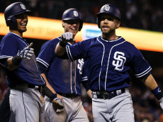 SAN FRANCISCO, CA - SEPTEMBER 13: Ryan Schimpf #11 of the San Diego Padres is congratulated by Luis Sardinas #2 and Wil Myers #4 after hitting a three run home run against the San Francisco Giants during the ninth inning at AT&T Park on September 13, 2016 in San Francisco, California. The San Diego Padres defeated the San Francisco Giants 6-4. (Photo by Jason O. Watson/Getty Images)