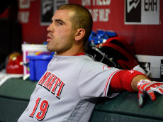 PHOENIX, AZ - AUGUST 26:  Joey Votto #19 of the Cincinnati Reds sits in the dugout during the game against the Arizona Diamondbacks at Chase Field on August 26, 2016 in Phoenix, Arizona.  (Photo by Jennifer Stewart/Getty Images)