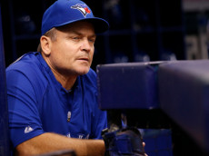 ST. PETERSBURG, FL - SEPTEMBER 3:  Manager John Gibbons #5 of the Toronto Blue Jays looks on from the dugout moments before the start of a game against the Tampa Bay Rays on September 3, 2014 at Tropicana Field in St. Petersburg, Florida.  (Photo by Brian Blanco/Getty Images)