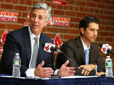 BOSTON, MA - SEPTEMBER 24: Dave Dombrowski, President of Baseball Operations, left, and Mike Hazen, new Senior Vice President and General Manager of the Red Sox, address the media during a press conference to announce Hazen's promotion before the game against the Tampa Bay Rays at Fenway Park on September 24, 2015 in Boston, Massachusetts.  (Photo by Maddie Meyer/Getty Images)