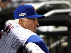NEW YORK, NY - OCTOBER 05:  Terry Collins #10 of the New York Mets looks on prior to their National League Wild Card game against the San Francisco Giants at Citi Field on October 5, 2016 in New York City.  (Photo by Elsa/Getty Images)