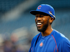 NEW YORK, NY - OCTOBER 17:  Dexter Fowler #24 of the Chicago Cubs looks on during batting practice prior to game one of the 2015 MLB National League Championship Series against the New York Mets at Citi Field on October 17, 2015 in the Flushing neighborhood of the Queens borough of New York City.  (Photo by Mike Stobe/Getty Images)