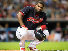 CLEVELAND, OH - SEPTEMBER 21: Abraham Almonte #35 of the Cleveland Indians reacts after being hit by a pitch during the seventh inning against the Kansas City Royals at Progressive Field on September 21, 2016 in Cleveland, Ohio. (Photo by Jason Miller/Getty Images)