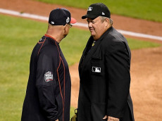 CLEVELAND, OH - NOVEMBER 01: Manager Terry Francona of the Cleveland Indians talks with umpire Joe West during Game Six of the 2016 World Series between the Chicago Cubs and the Cleveland Indians at Progressive Field on November 1, 2016 in Cleveland, Ohio. (Photo by Jason Miller/Getty Images)
